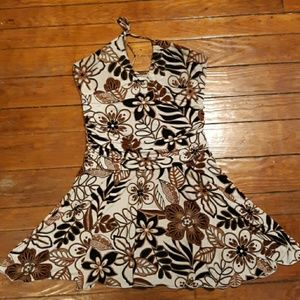 Womens Large, Tie-up around the neck, Floral Dress